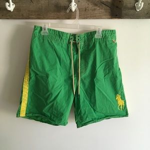 Green and yellow polo bathing suit swim trunks